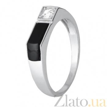 Серебряное кольцо с ониксом и фианитом Брайт SLX--К2ФО/496