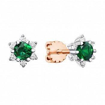Золоті сережки в комбінованому кольорі зі смарагдами та діамантами 000135793