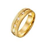 Золотое обручальное кольцо Вечность с насечкой и фианитами