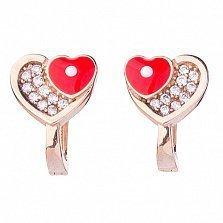 Детские золотые серьги Два сердца с фианитами и эмалью