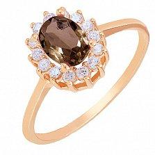 Золотое кольцо Ванесса с раухтопазом и фианитами