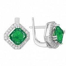 Серебряные серьги Милана с зелеными агатами и белыми фианитами