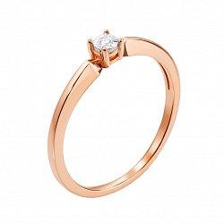 Помолвочное кольцо в комбинированном цвете золота с бриллиантом и алмазной гранью 000131419