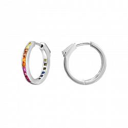 Серебряные серьги-кольца с синтезированными рубинами, сапфирами, фианитами и шпинелью 000122707