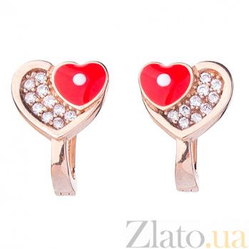 Детские золотые серьги Два сердца с фианитами и эмалью ONX--с03971к