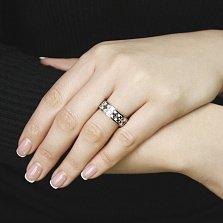 Золотое обручальное кольцо Любовный узор с бриллиантами и белой эмалью