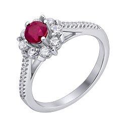 Серебряное кольцо с рубином и фианитами 000140611