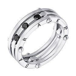 Золотое обручальное кольцо Счастливый союз в белом цвете с черными бриллиантами в стиле Барака