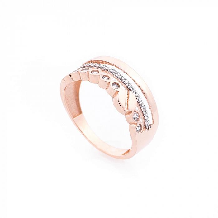 Кольцо Эмираты из красного золота с фантазийной шинкой, дорожкой и завальцованными фианитами 000082380