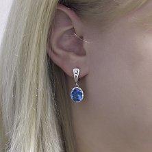 Серебряные серьги-подвески Лайма с голубым кварцем и фианитами