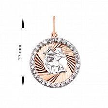 Золотой кулон Знак Зодиака Стрелец в комбинированном цвете с фианитами и алмазной гранью