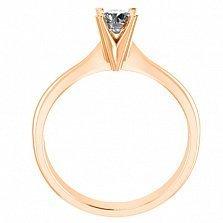 Кольцо в красном золоте с бриллиантом Победа любви, 4мм