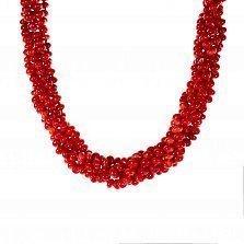 Многослойные крученые бусы Полоняночка из красных кораллов на крупном шпрингельном замке