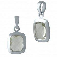 Серебряная подвеска Корнелия с завальцованным бледно-зеленым аметистом