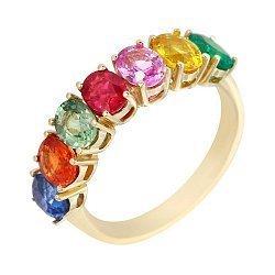 Кольцо из желтого золота с рубином, изумрудом и разноцветными сапфирами 000105790