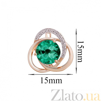 Серьги в красном золоте Кристина с синтезированным зелёным кварцем и фианитами SVA--219043310107