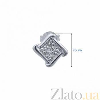 Серебряные пуссеты с цирконами Ромб AQA--S225560187
