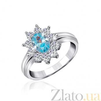 Серебряное кольцо Сафира с голубым и белыми фианитами 000025469