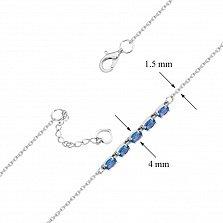Серебряный браслет Нинель с топазами лондон якорного плетения