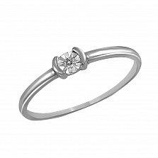 Кольцо в белом золоте Сонет с бриллиантом