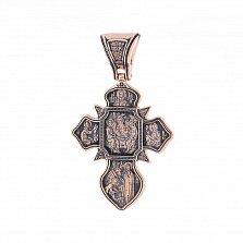 Золотой крестик Святая Троица с чернением