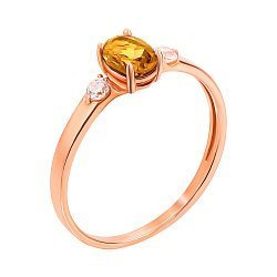 Кольцо из красного золота с цитрином и фианитами 000131331