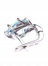 Серебряные серьги Мальвина с голубым топазом