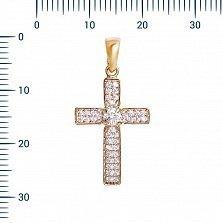 Крестик из красного золота Сандрина с фианитами