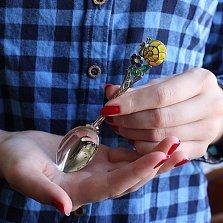 Серебряная детская чайная ложка Улитка на цветке с эмалью