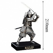 Бронзовая скульптура Самурай с мечом на обсидиановой подставке