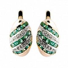 Золотые серьги с бриллиантами и изумрудами Беатрис