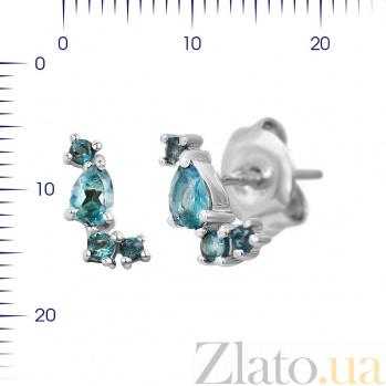 Серебряные серьги-пуссеты Этэль с топазами 000081967