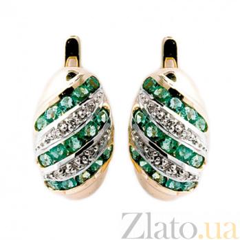 Золотые серьги с бриллиантами и изумрудами Беатрис ZMX--EE-16530_K