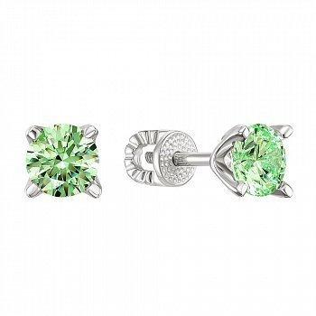 Серебряные серьги-пуссеты с зелеными фианитами Swarovski 000148839