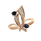 Золотое кольцо с сапфирами и бриллиантами Паулина