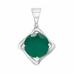 Серебряный кулон с зеленым агатом и родированием 000134472