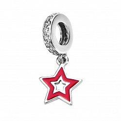 Серебряный шарм-подвеска Звездочка с красной эмалью и фианитами 000116419