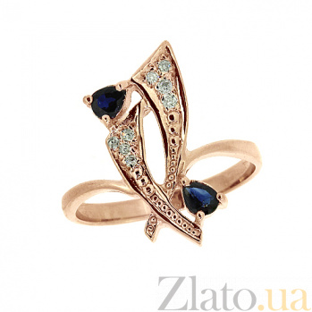 Золотое кольцо с сапфирами и бриллиантами Паулина ZMX--RS-6149_K