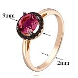 Кольцо в красном золоте Аверс с синтезированным рубином и фианитами