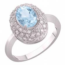 Кольцо из белого золота Виндзор с голубым топазом и фианитами