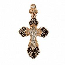 Золотой крестик Архангел с белым родием и черной эмалью