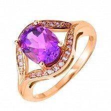 Кольцо в красном золоте Виктория с аметистом и фианитами
