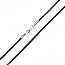 Шелковый шнурок Матиас с родированной серебряной застежкой