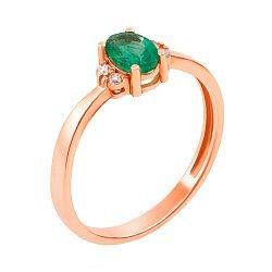 Кольцо из красного золота с изумрудом и бриллиантами 000136078