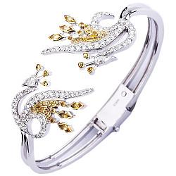 Золотой браслет с сапфирами и бриллиантами Жар Птица 000018845