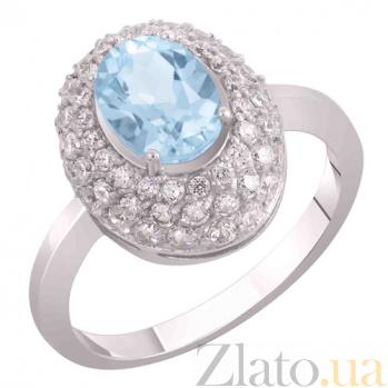 Кольцо из белого золота Виндзор с голубым топазом и фианитами SVA--1194992/Топаз голубой