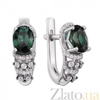 Серебряные серьги с зеленым кварцем Хелена 2160/9р зел.кварц