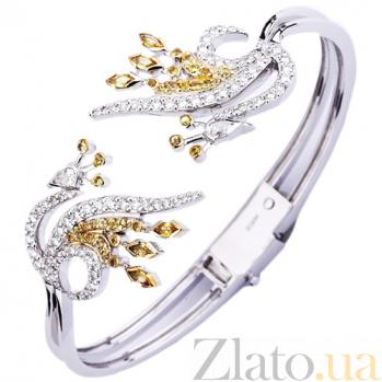 Золотой браслет с сапфирами и бриллиантами Жар Птица KBL--БР030/бел/сапф