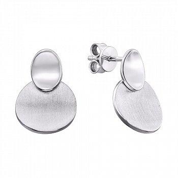 Серебряные серьги с матовой и глянцевой поверхностью 000133986