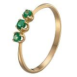 Кольцо в желтом золоте Иванна с изумрудами